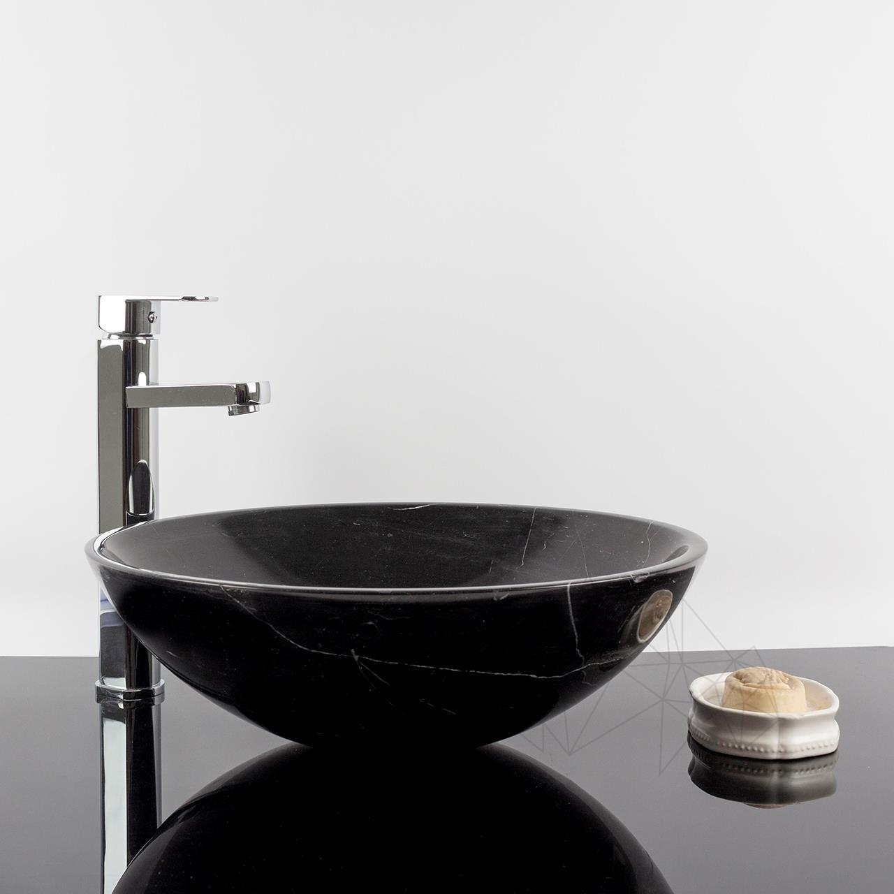 Bathroom Sink Nero Marquina Marble 42 X 14 Cm Piatraonline Com