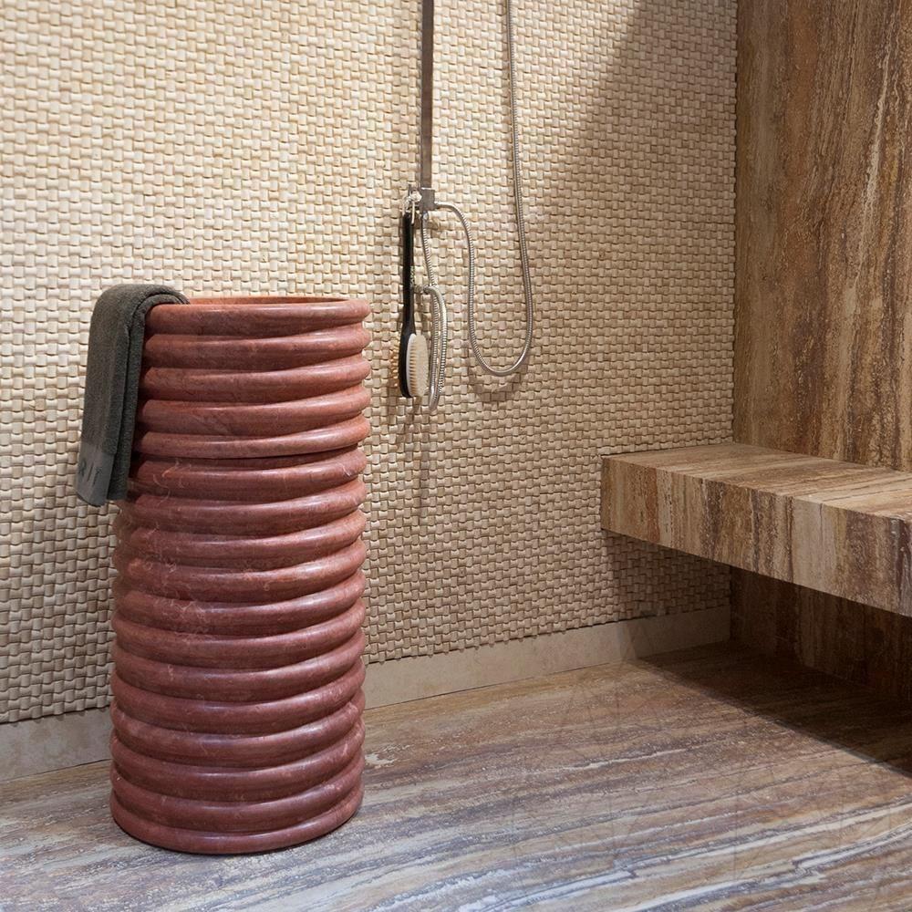 Bathroom Sink Red Travertine Sp 23 42 X 83 Cm Piatraonline Com