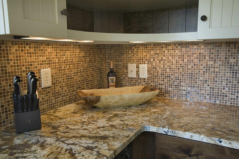 Stone Mosaic Tile Backsplash In Kitchen