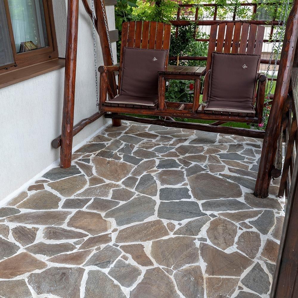 Rusty Brown Polygonal Slate - flagstone