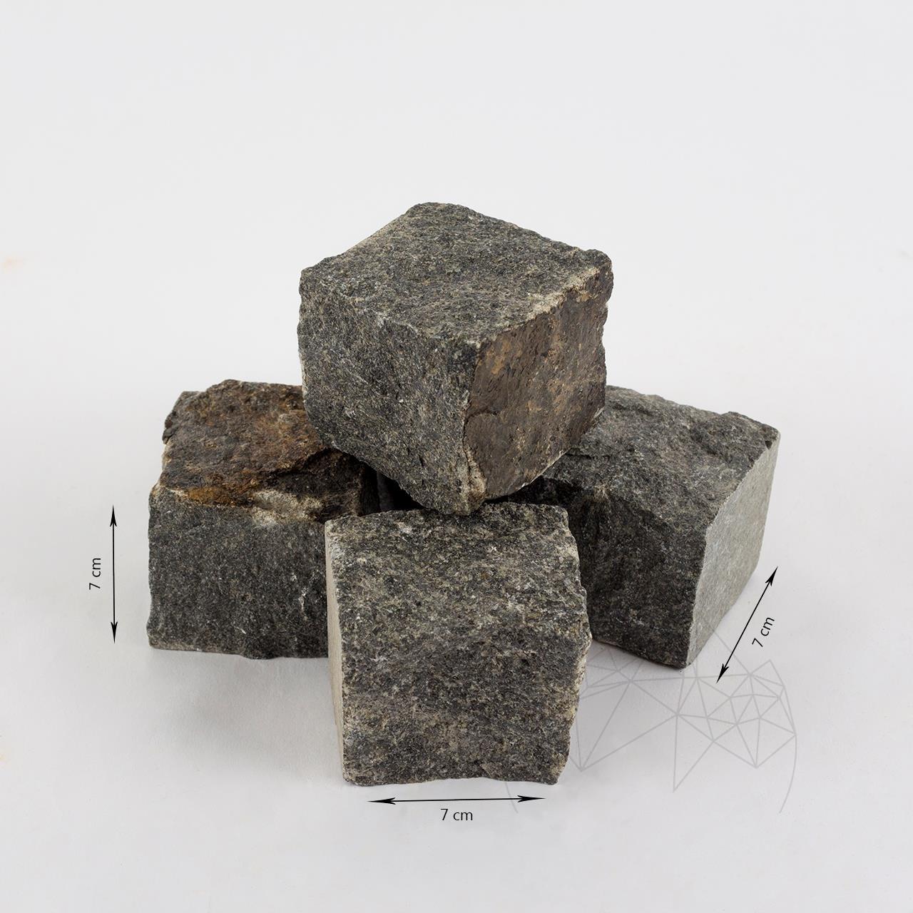 Anthracite Granite Splitface Cobblestone 7 x 7 x 7 cm (1 ton = 5-6 sqm) title=Anthracite Granite Splitface Cobblestone 7 x 7 x 7 cm (1 ton = 5-6 sqm)