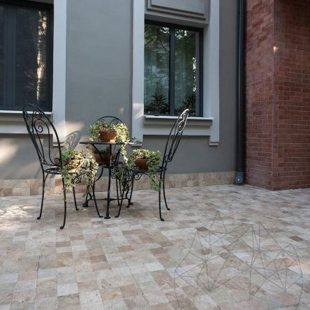 Classic Cross Cut Travertine Tumbled Cobblestone 10 x 10 x 3.2 cm (Pavers)