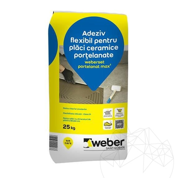 Weber Set Porcelain Max² 25 KG - Floor & wall natural stone grey profesional adhesive