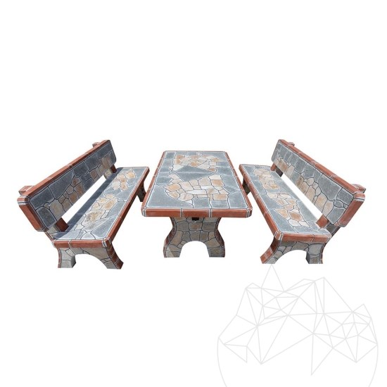 Garden Table + 2 Benches (outdoor furniture set) with polygonal flagstone
