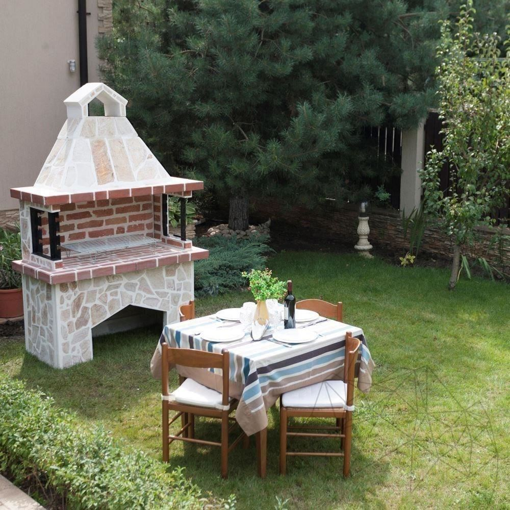 Garden Barbeque Big with polygonal flagstone