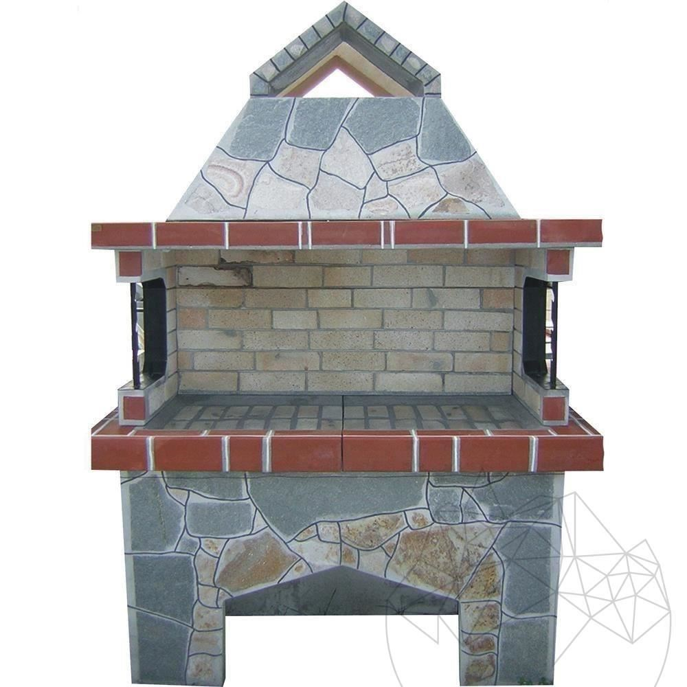 Garden Barbeque & Grill System Big with polygonal flagstone