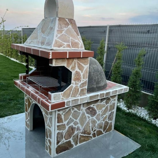 Garden Barbeque & Oven with polygonal flagstone