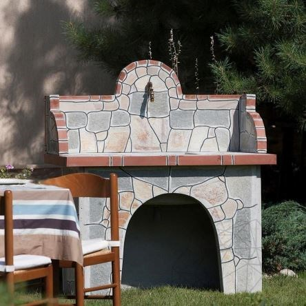Barbeque Table & Washbasin with polygonal flagstone