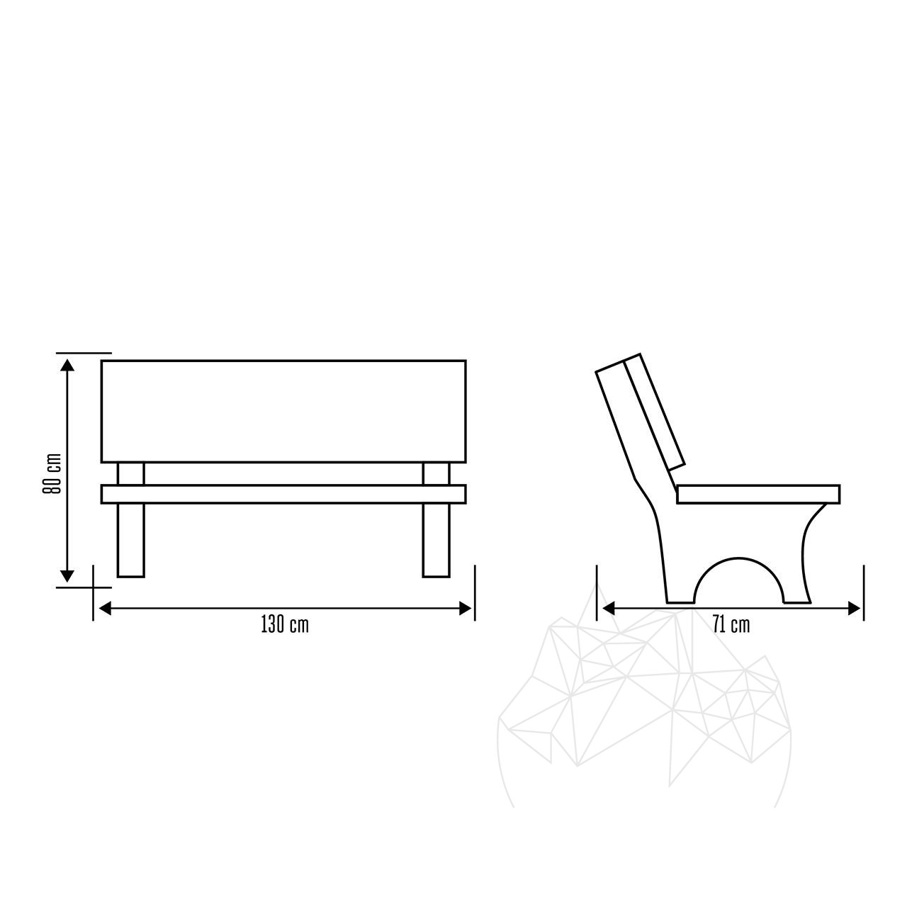 Garden Table + 2 Benches (outdoor furniture set) with spliface