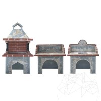 Garden Barbeque Family Set with polygonal flagstone