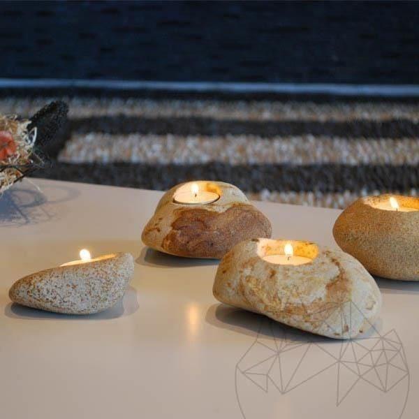 Handmade Candle Holder - Mandras Sandstone
