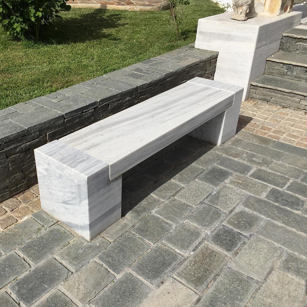 Kavala Marble Garden Bench 165 X 40 X 40 Cm