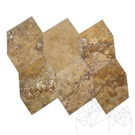 Yellow Cross Cut Exotic Hexagonal Brushed & Chiseled Travertine 46 x 46 x 1.2cm - Stock Clearance