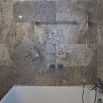 Silver Cross Cut Polished Travertine 61 x 30.5 x 1.2 cm