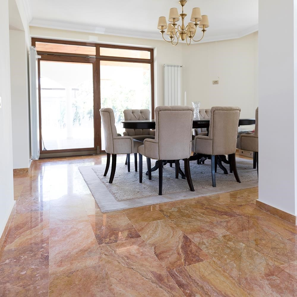 Peach Cross Cut Polished Travertine 61 x 30.5 x 1.2 cm