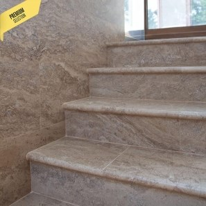 Latte Brushed & Bullnosed Travertine 61 x 30.5 x 3 cm - Stairs & Swimming Pool Border