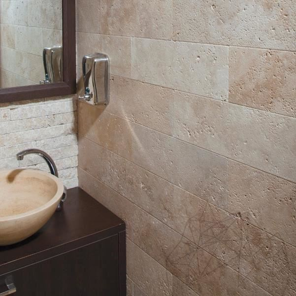 Classic Cross Cut Brushed Travertine 10 x 30 x 1 cm