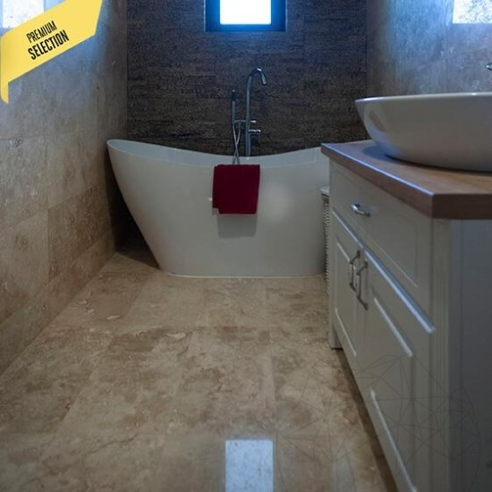 Classic Cross cut Polished Travertine 61 x 30.5 x 1.2 cm