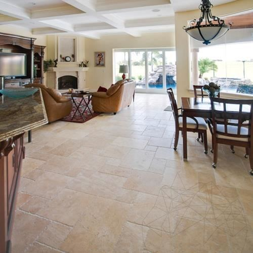 Classic Cross Cut Brushed & Chiseled Travertine French Pattern Set 1.2 cm title=Classic Cross Cut Brushed & Chiseled Travertine French Pattern Set 1.2 cm