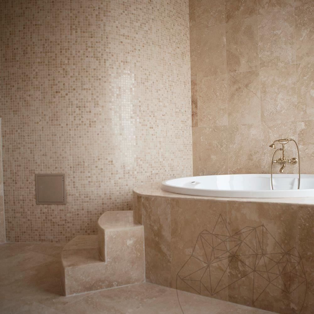 Classic Travertine Polished Mosaic 2.3 x 2.3 cm