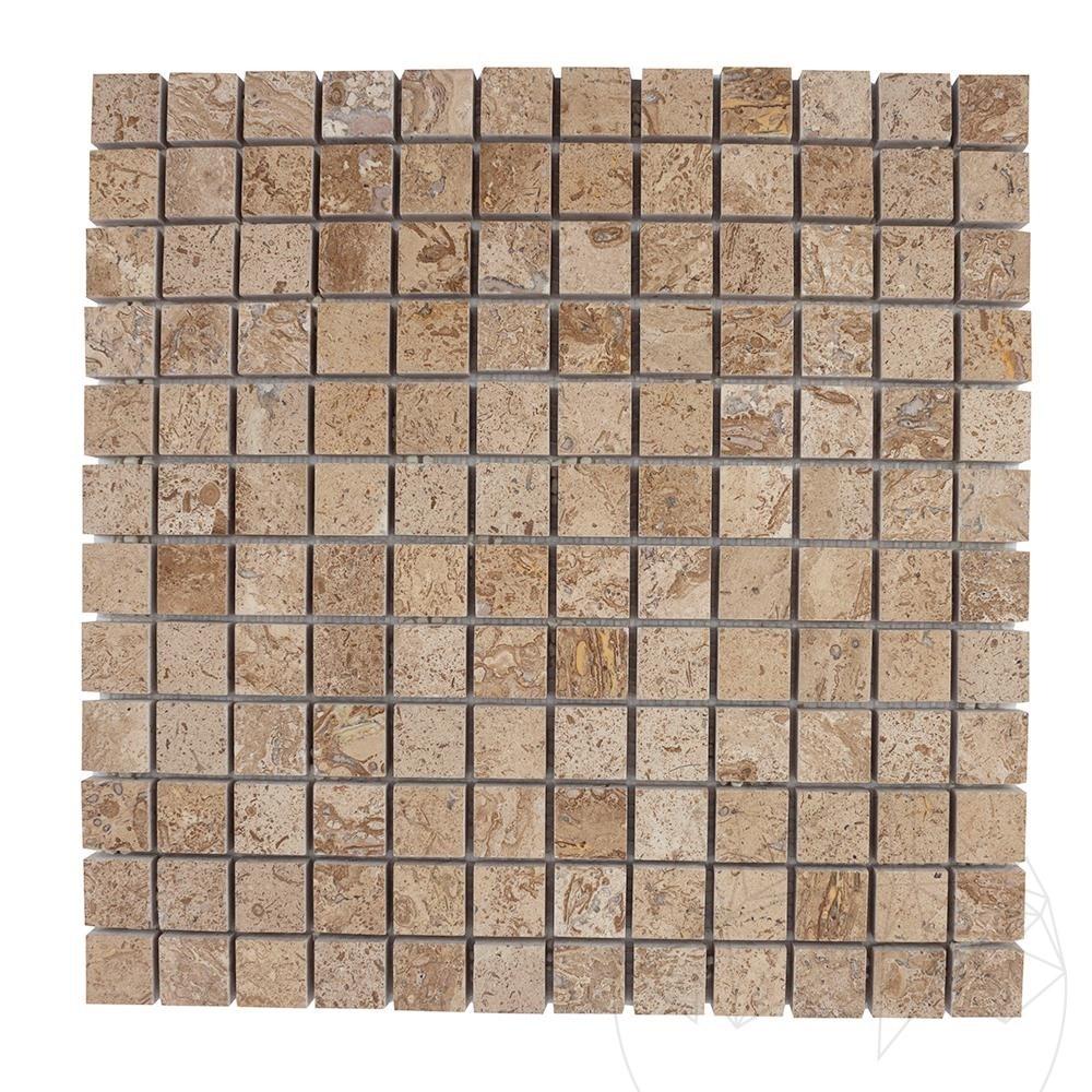 Latte Travertine Polished Mosaic 2.3 x 2.3 cm title=Latte Travertine Polished Mosaic 2.3 x 2.3 cm