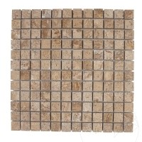 Latte Travertine Polished Mosaic 2.3 x 2.3 cm