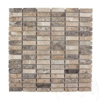 Silver Travertine Polished Mosaic 1.4 x 4.7 cm