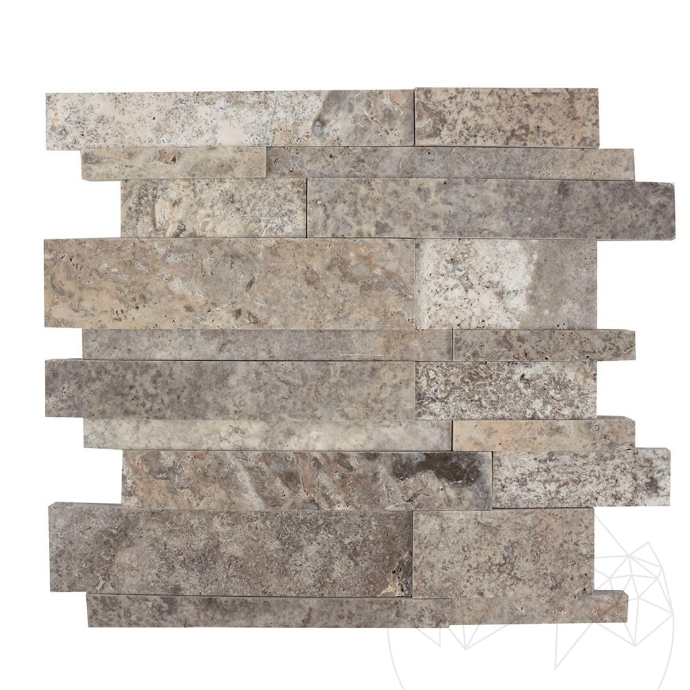 Silver Travertine Polished 3D Wall Mosaic title=Silver Travertine Polished 3D Wall Mosaic