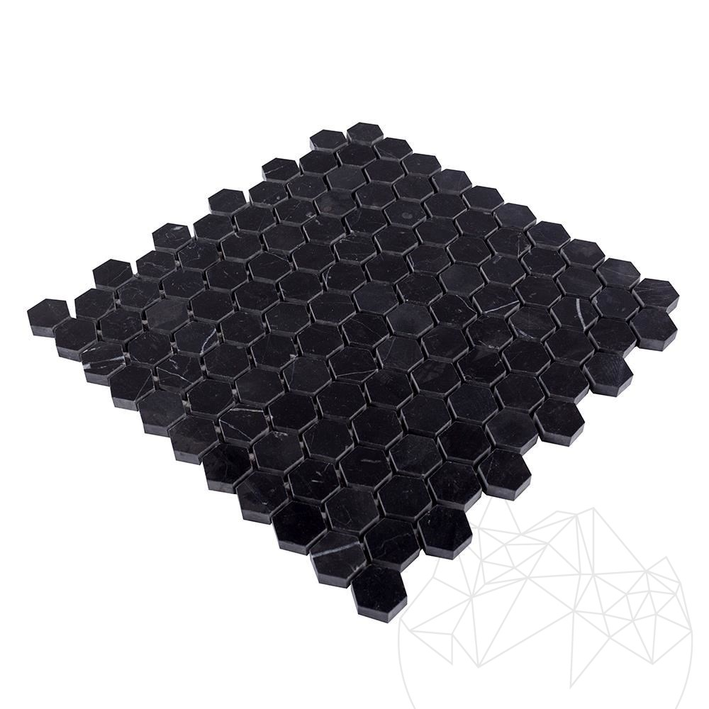 Nero Marquina Marble Polished Hexagonal Mosaic