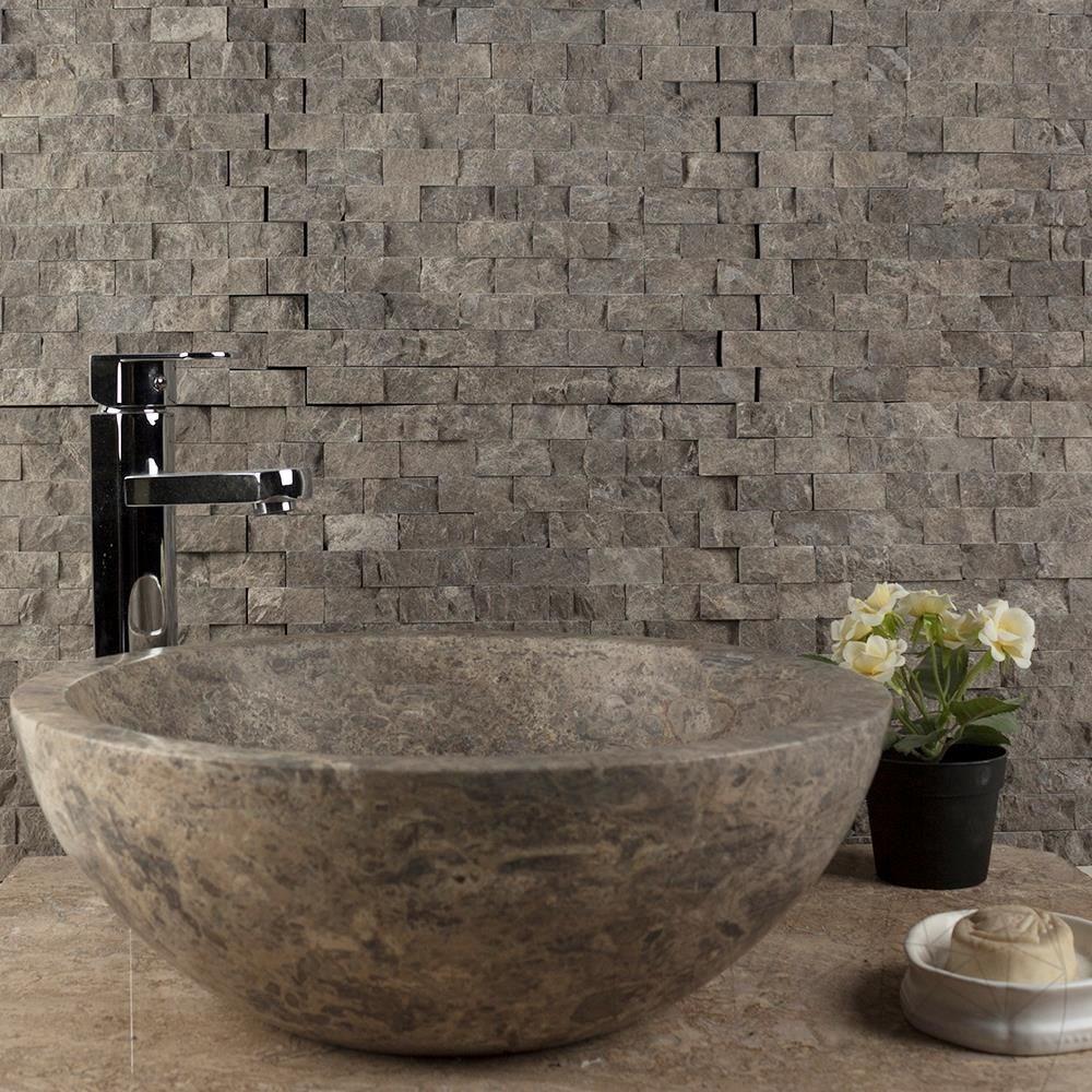 Dark Emperador Marble Splitface Mosaic 2.3 x 4.8 cm - Stock Clearance