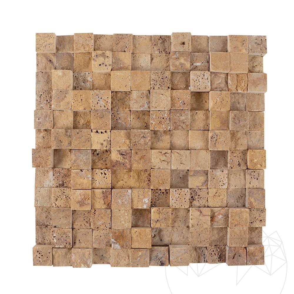 Yellow Travertine Splitface 3D Mosaic 2.5 x 2.5 cm title=Yellow Travertine Splitface 3D Mosaic 2.5 x 2.5 cm