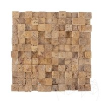 Yellow Travertine Splitface 3D Mosaic 2.5 x 2.5 cm