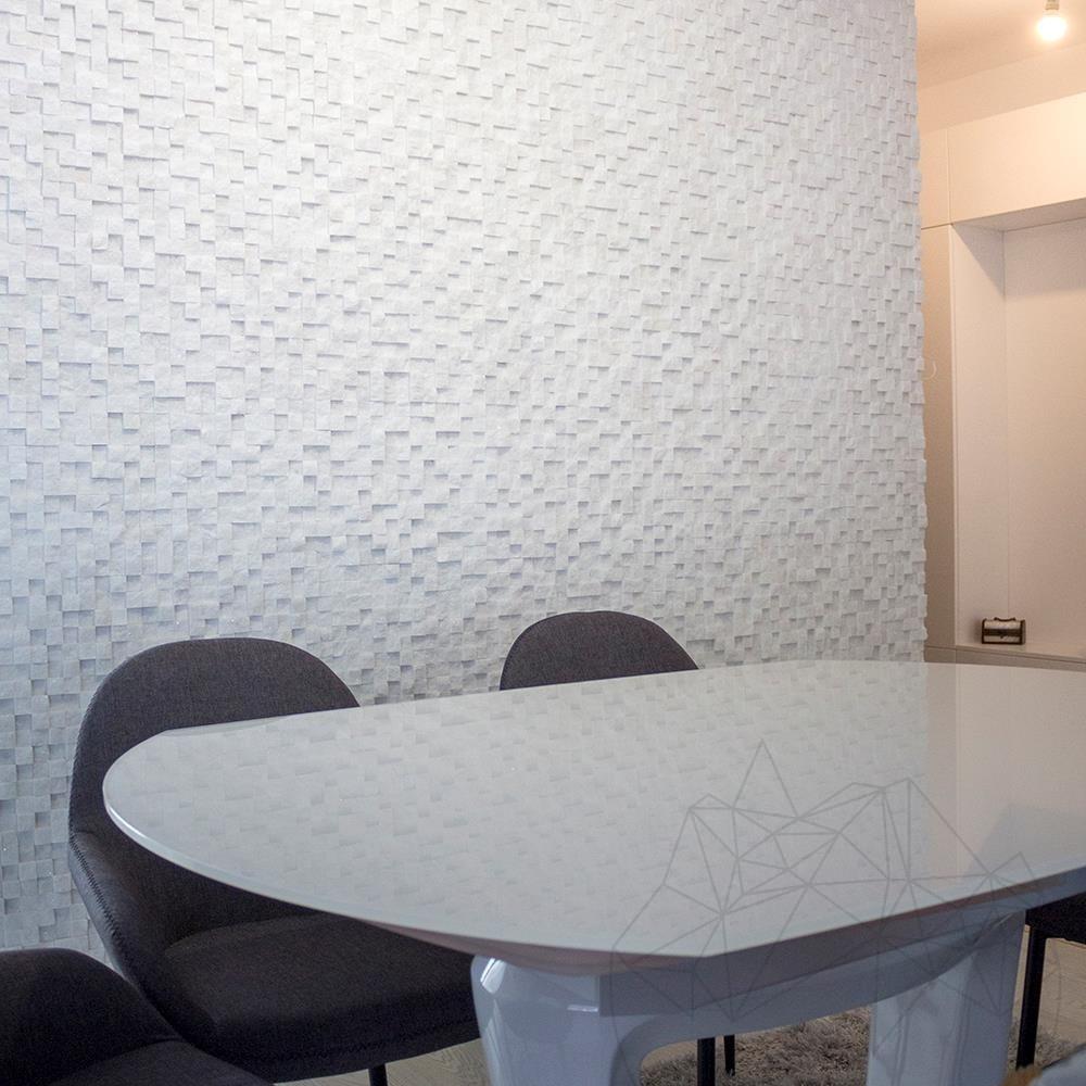 Thassos Marble Splitface 3D Mosaic 2.8 x 2.8 cm