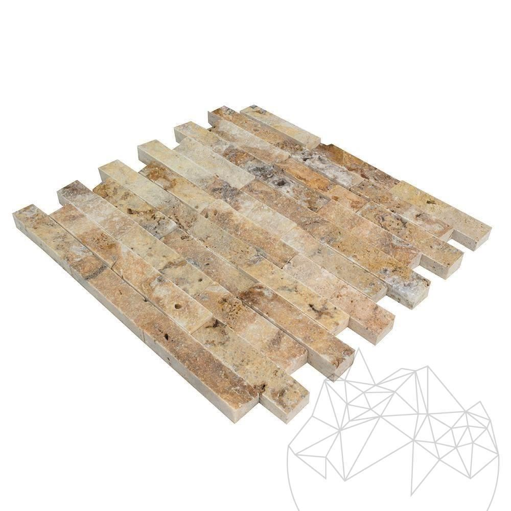 Scabas Travertine Splitface Mosaic 2.5 x 10 cm - Stock Clearance