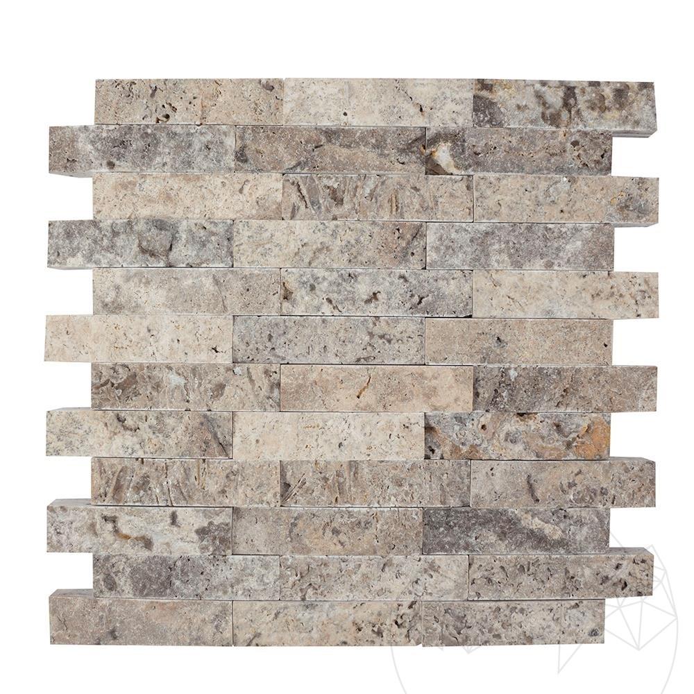 Silver Travertine Splitface Mosaic 2.5 x 10 cm title=Silver Travertine Splitface Mosaic 2.5 x 10 cm