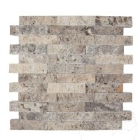 Silver Travertine Splitface Mosaic 2.5 x 10 cm