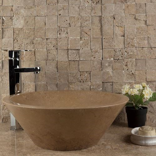 Noce Travertine Splitface Mosaic 4.8 x 4.8 cm - Stock Clearance