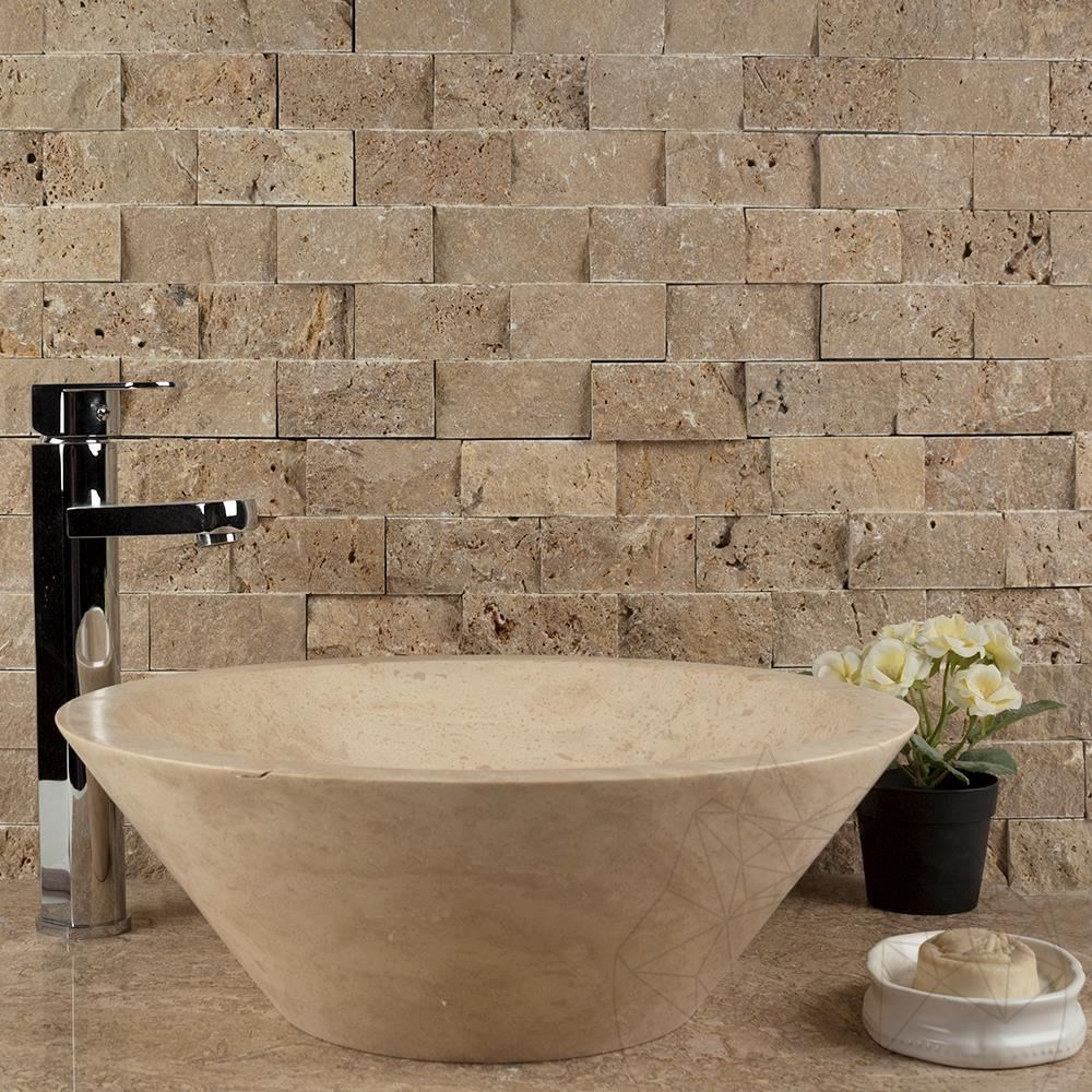 Noce Travertine Splitface Mosaic 4.8 x 10 cm - Stock Clearance