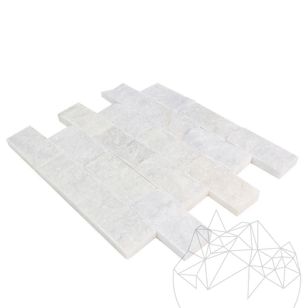 Mugla White Marble Splitface Mosaic 5 x 10 cm title=Mugla White Marble Splitface Mosaic 5 x 10 cm