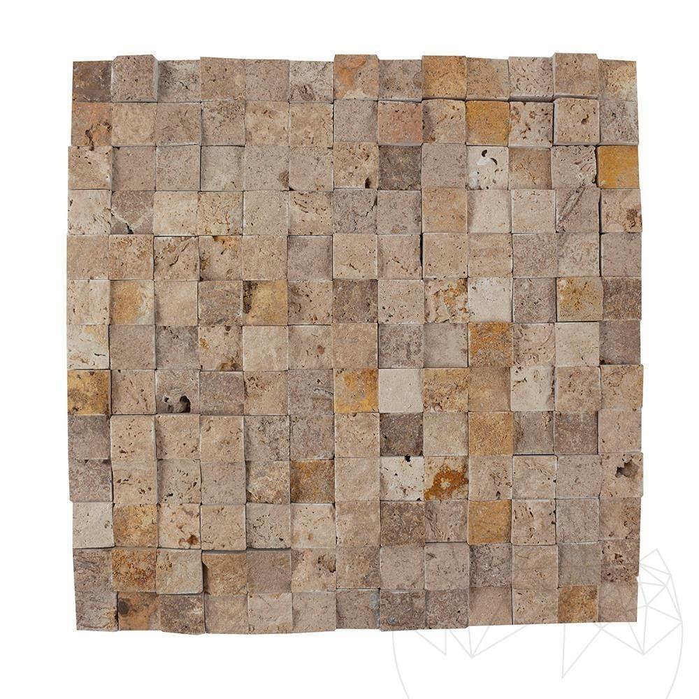 Noce / Classic / Yellow Mix Travertine Splitface Mosaic 2.3 x 2.3 cm title=Noce / Classic / Yellow Mix Travertine Splitface Mosaic 2.3 x 2.3 cm