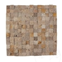 Noce / Classic / Yellow Mix Travertine Splitface Mosaic 2.3 x 2.3 cm