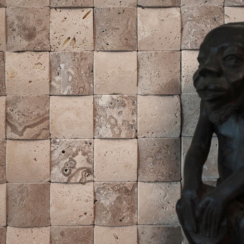 Classic & Noce Travertine Tumbled 3D Pillow Mosaic 5 x 5 cm