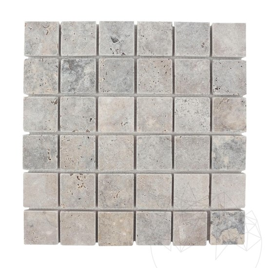 Silver Travertine Tumbled Mosaic 4.8 x 4.8 cm
