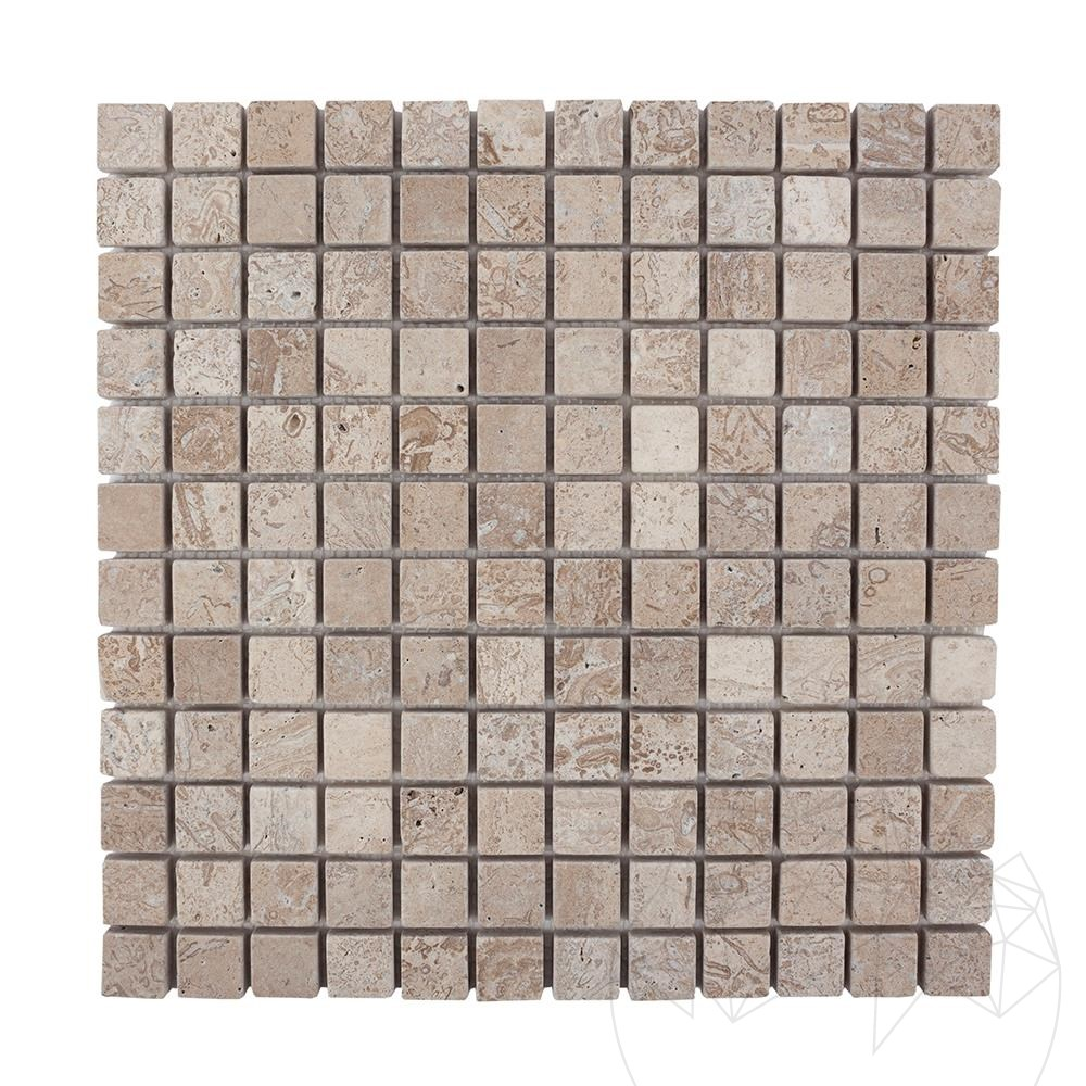 Latte Travertine Tumbled Mosaic 2.3 x 2.3 cm