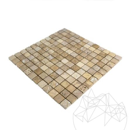 Yellow Travertine Tumbled Mosaic 2.3 x 2.3 cm