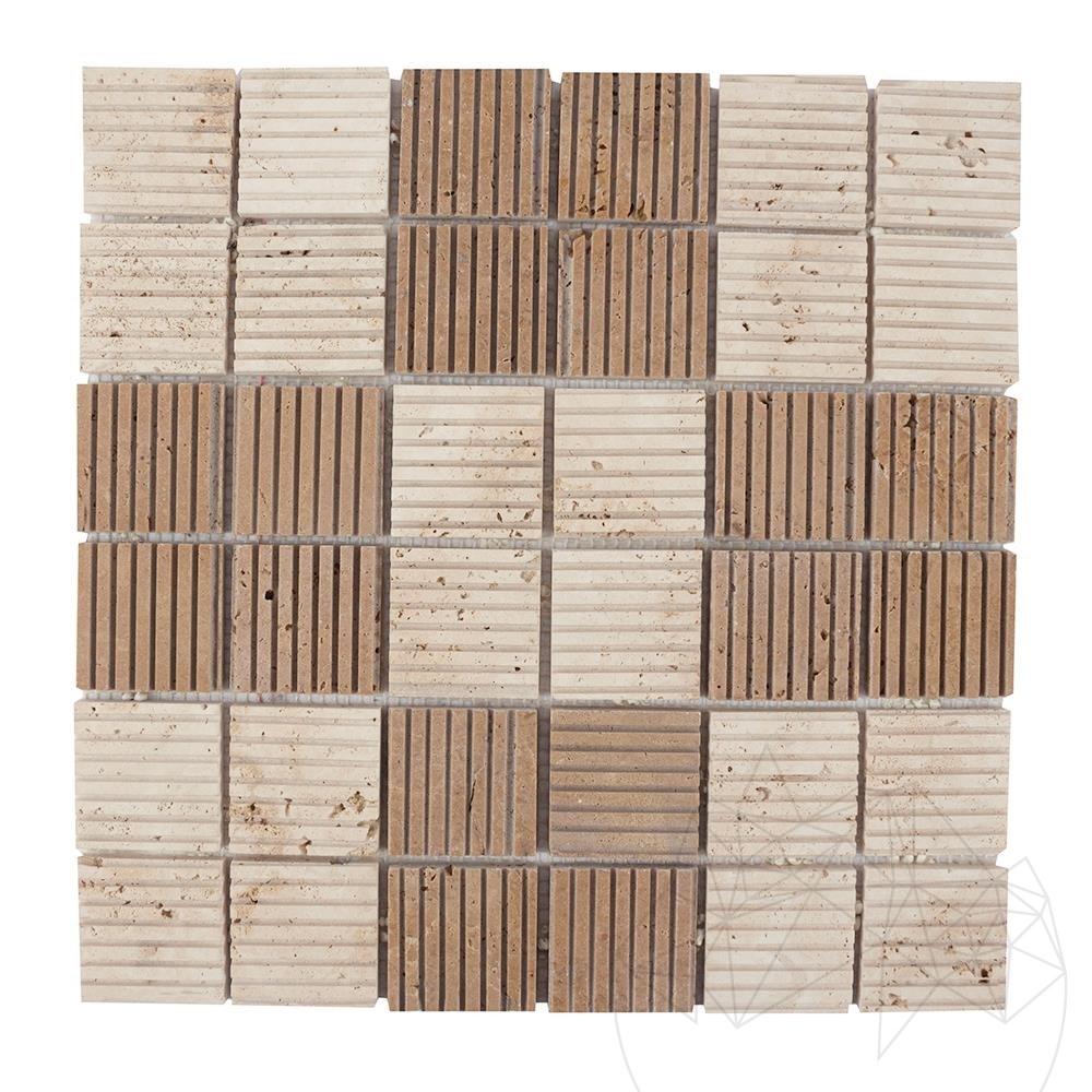 Classic & Noce Travertine Scratched Mosaic 4.7 x 4.7 cm