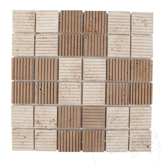 Classic & Noce Travertine Scratched Mosaic 4.7 x 4.7 cm