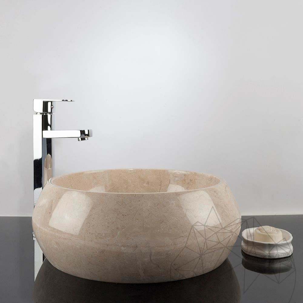 Bathroom Sink - Light Beige Marble RS-21, 40 x 35 x 16 cm