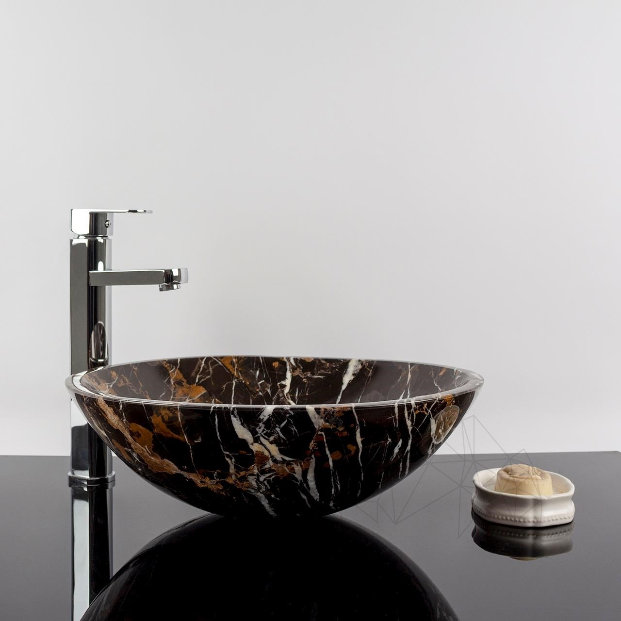 Bathroom Sink - Portoro Gold Marble, 42 x 14 cm title=Bathroom Sink - Portoro Gold Marble, 42 x 14 cm