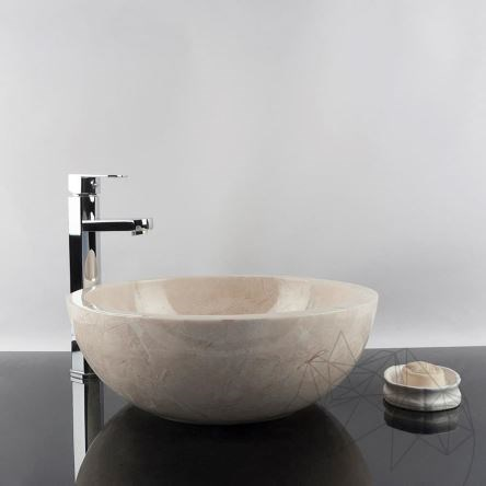 Bathroom Sink - Light Beige Marble RS-5, 42 x 15 cm